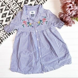 OLD NAVY Blue Striped Embroidered Button  Dress